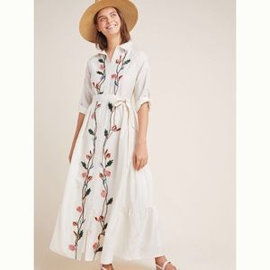 Anthropologie Embroidered Shirtdress 12